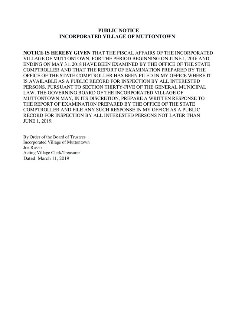 thumbnail of State Audit Public Notice