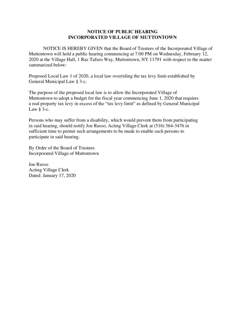 thumbnail of Public Hearing Notice – Local Law 1 of 2020 Overriding Tax Levy