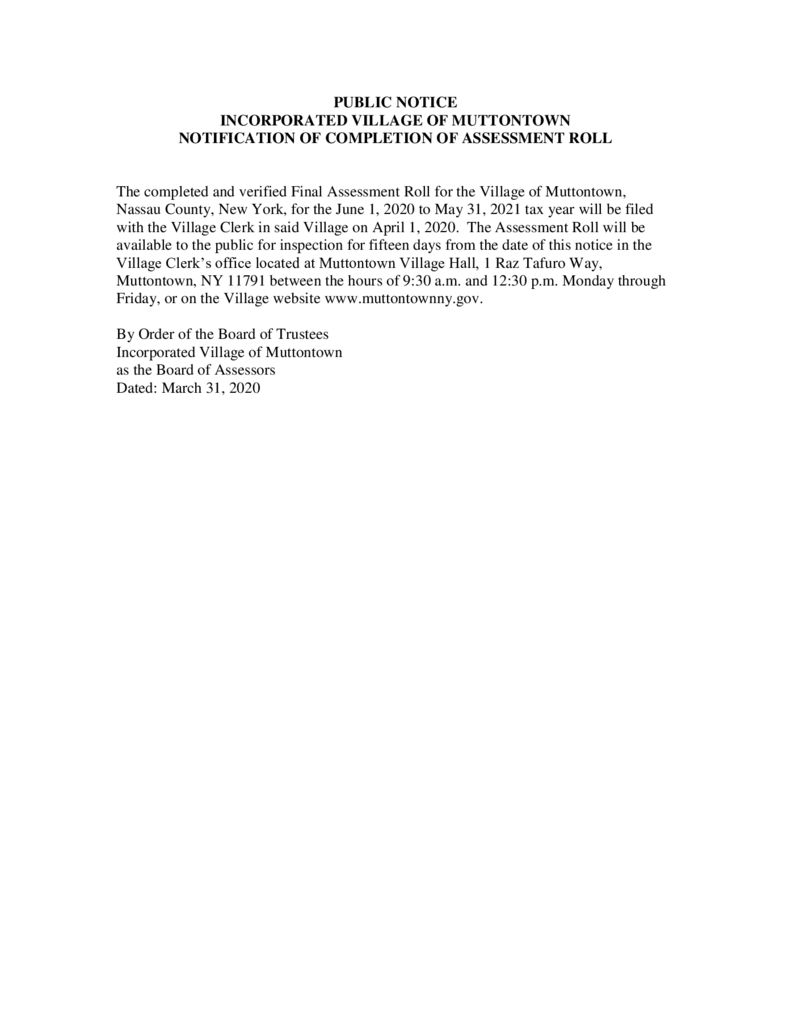 thumbnail of Public Notice-Final Assessment Roll 040120