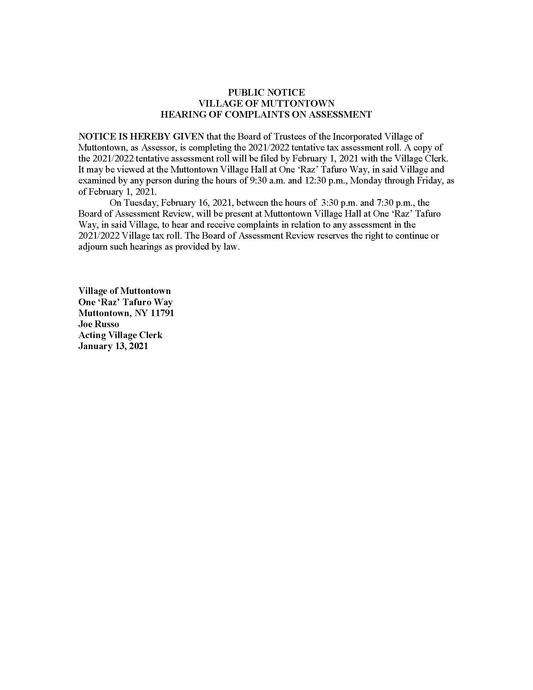 Public Notice 2021-2022 Tentative Assessment Roll
