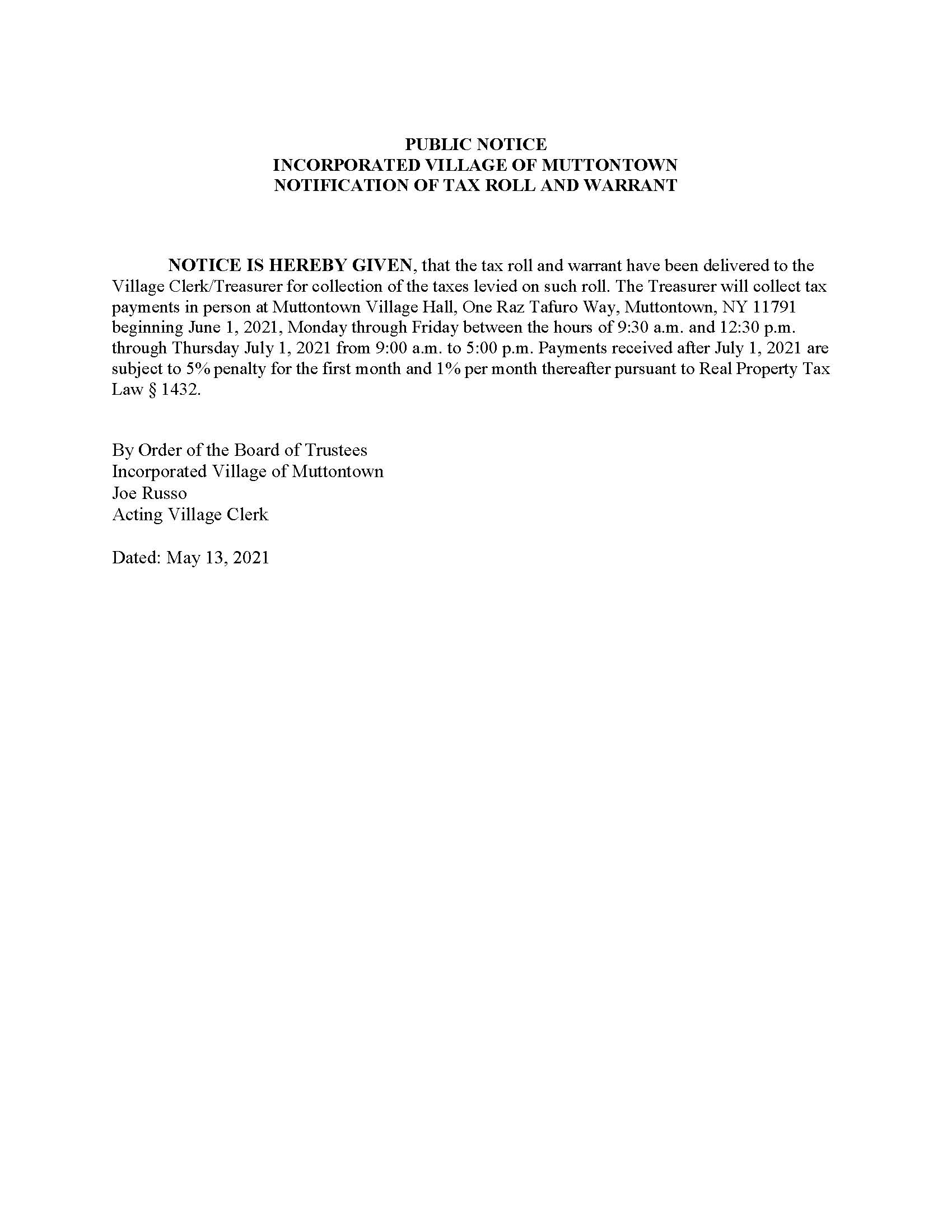 Public Notice Notification of Tax Roll and Warrant