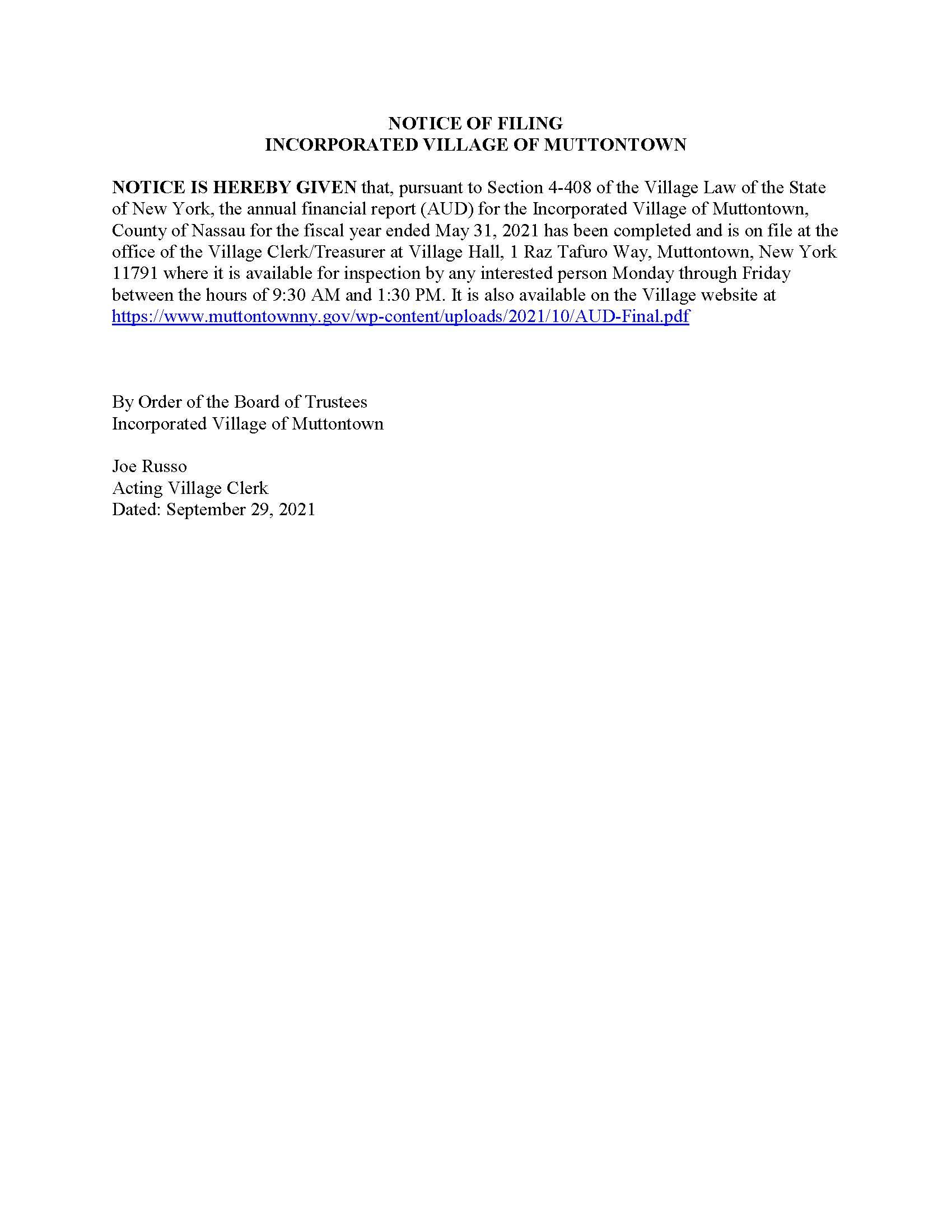 Notice of Filing